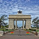 Ghana, Black Star Gate, Accra and Ghana Flags by Remo Kurka