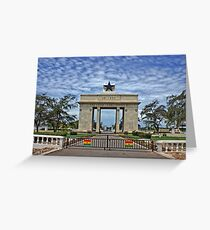 Ghana, Black Star Gate, Accra and Ghana Flags Greeting Card