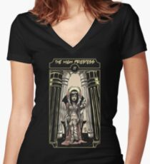 The High Priestess - Sinking Wasteland Tarot Women's Fitted V-Neck T-Shirt