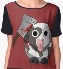 Cow Chop Bloody Knife BG Chiffon Top