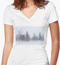 Snowstorm - Tall Trees and Whispering Snowflakes Women's Fitted V-Neck T-Shirt