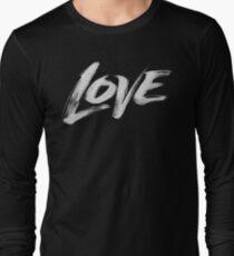 Zen Brush Love Word - Lettering - White Calligraphy  Long Sleeve T-Shirt