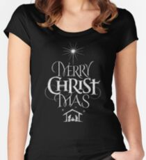 Merry Christmas Religious Christian Calligraphy Christ Mas Chalkboard Jesus Nativity Women's Fitted Scoop T-Shirt
