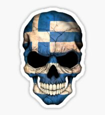 Greek Flag Skull Sticker
