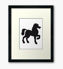 schattenriss umrandung black cool riding horse stallion equestrian comic cartoon Framed Print