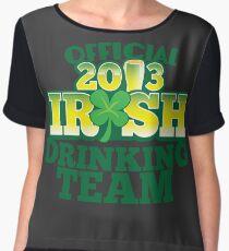 Official 2013 IRISH Shirt with beer pint and a shamrock Women's Chiffon Top