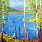 Hinze Dam with Egret Numinbah Valley Gold Coast Hinterland  by Virginia McGowan