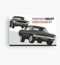 Ford Mustang GT and Dodge Charger from Bullitt Canvas Print