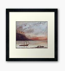 Vintage famous art - Gustave Courbet - Sunset Over Lake Leman Framed Print