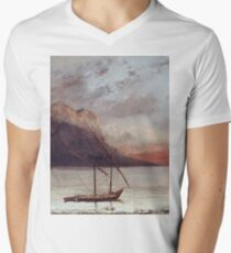 Vintage famous art - Gustave Courbet - Sunset Over Lake Leman Mens V-Neck T-Shirt
