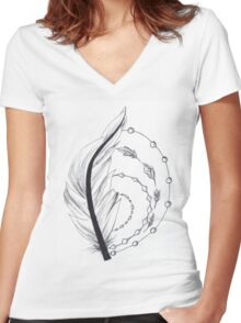 feather artwork Women's Fitted V-Neck T-Shirt