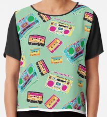 80's Music Boombox and Cassette tapes Chiffon Top