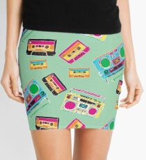 80's Music Boombox and Cassette tapes Mini Skirt