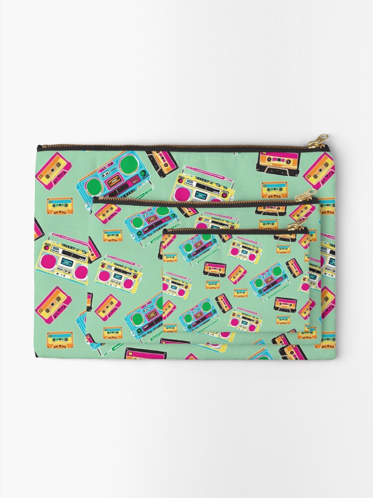 Alternate view of 80's Music Boombox and Cassette tapes Zipper Pouch