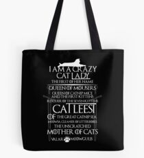 Catleesi- Mother of Cats- White on Black version Tote Bag