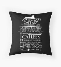 Catleesi- Mother of Cats- White on Black version Throw Pillow