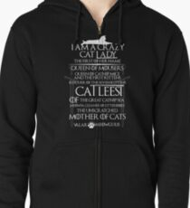 Catleesi- Mother of Cats- White on Black version Zipped Hoodie