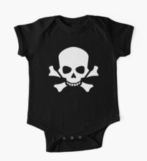 Skull, Crossbones, Warning, Horror, Halloween, Pirate, Death, dead, Poison, White One Piece - Short Sleeve