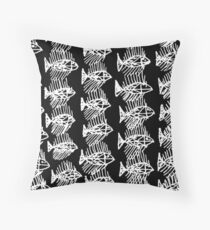 Black and White Abstract Fish Art Tote Bag Throw Pillow