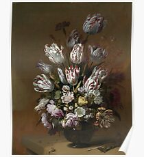 Vintage famous art - Hans Bollongier - Still Life With Flowers Poster