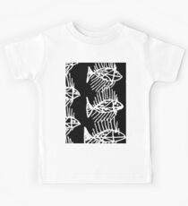 White and Black Abstract Fish Kids Tee