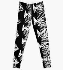 Black and White Abstract Fish Art Tote Bag Leggings