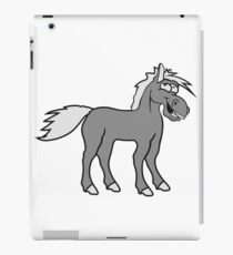 funny silly crazy comic cartoon horse laugh silly stallion donkey iPad Case/Skin
