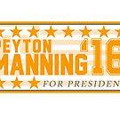 «Peyton Manning para el presidente Campaign Sticker» de chloe24k