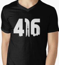 416 logo with Toronto skyline Men's V-Neck T-Shirt