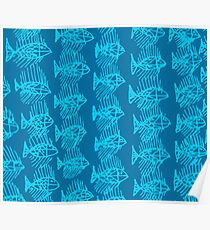 Blue Tropical Fish Abstract Art Throw Pillow Poster