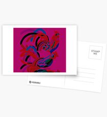 Abstract Rooster Art Throw Pillow in Hot Pink Postcards