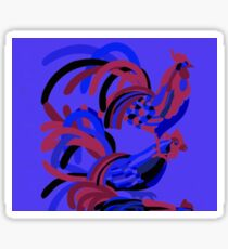 Rooster Abstract Art Blue iPad Cover Sticker