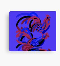 Rooster Abstract Art Blue iPad Cover Canvas Print