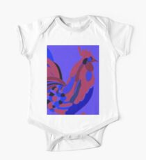 Rooster Abstract Art Blue iPad Cover One Piece - Short Sleeve