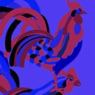 Rooster Abstract Art Blue iPad Cover by ntartworks
