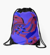 Rooster Abstract Art Blue iPad Cover Drawstring Bag