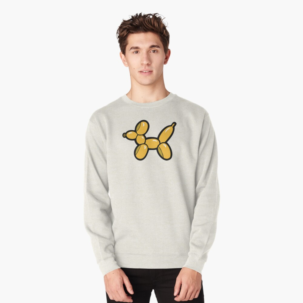 Balloon Animal Dogs Pattern in Red Pullover Sweatshirt
