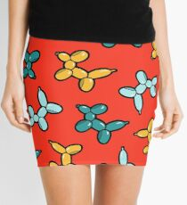 Balloon Animal Dogs Pattern in Red Mini Skirt