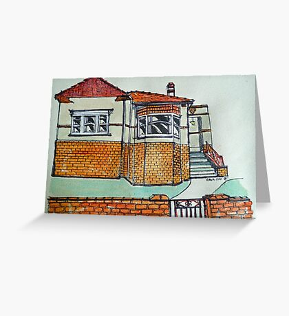 Art Deco house, Melbourne, Australia. © Pen and wash on fabric. Greeting Card