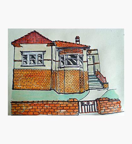 Art Deco house, Melbourne, Australia. © Pen and wash on fabric. Photographic Print