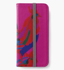 Abstract Rooster Art Throw Pillow in Hot Pink iPhone Wallet/Case/Skin
