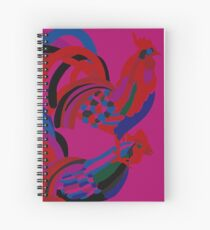 Abstract Rooster Art Throw Pillow in Hot Pink Spiral Notebook