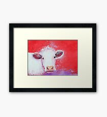 White Cow painting on red background Framed Print