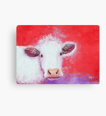 White Cow painting on red background Canvas Print