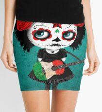 Sugar Skull Girl Playing Italian Flag Guitar Mini Skirt