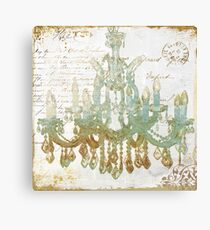Teal and Gold Chandelier Canvas Print
