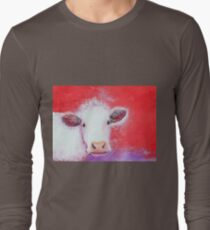 White Cow painting on red background T-Shirt