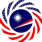 Marshall Islands American Multinational Patriot Flag Series by Carbon-Fibre Media