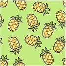 Summertime Pineapple Fruits Square by Tee Brain Creative