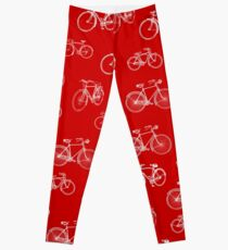 Retro Collection of Bicycles on red Leggings